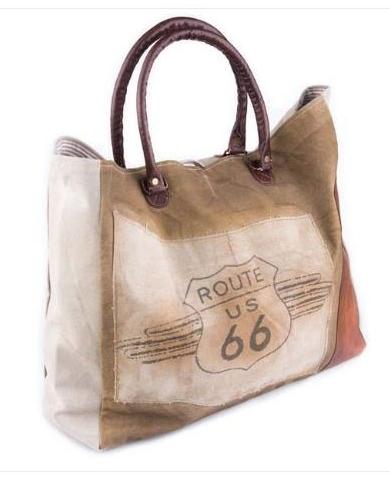 Route 66 Canvas Weekender Tote