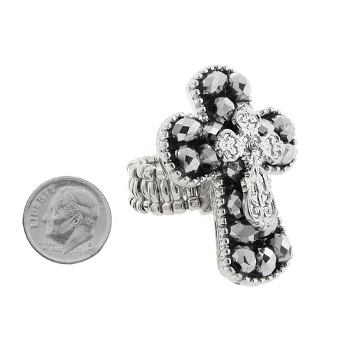 Crystal Cross Ring with Silver Cross