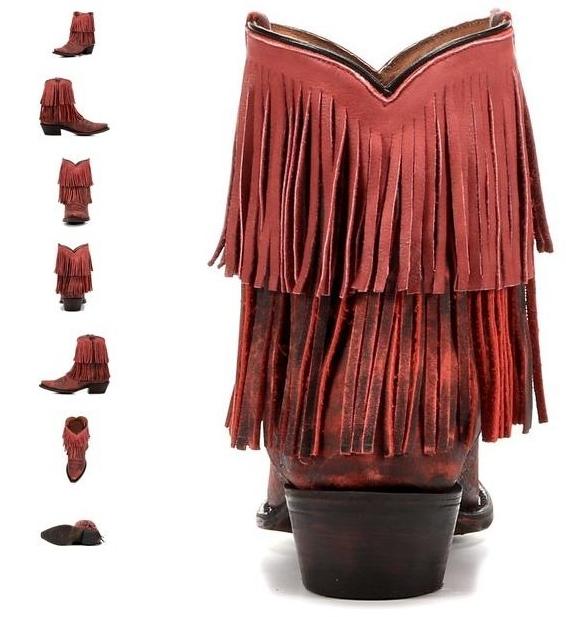 Redneck Riviera Vintage Red Fringe Ankle Boot