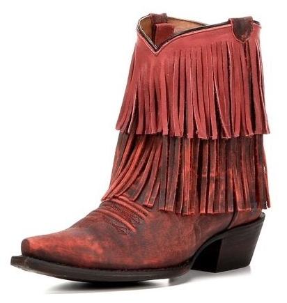 Redneck Riviera Vintage Red Fringe Ankle Boots