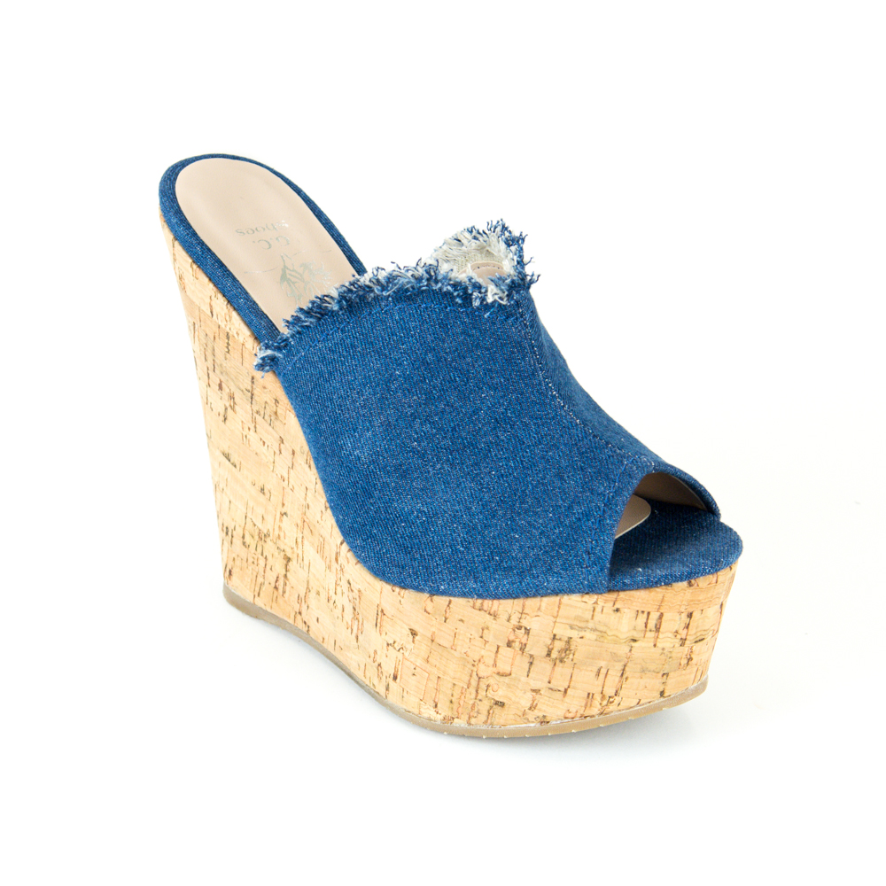 Denim High Peep Toe Wedge