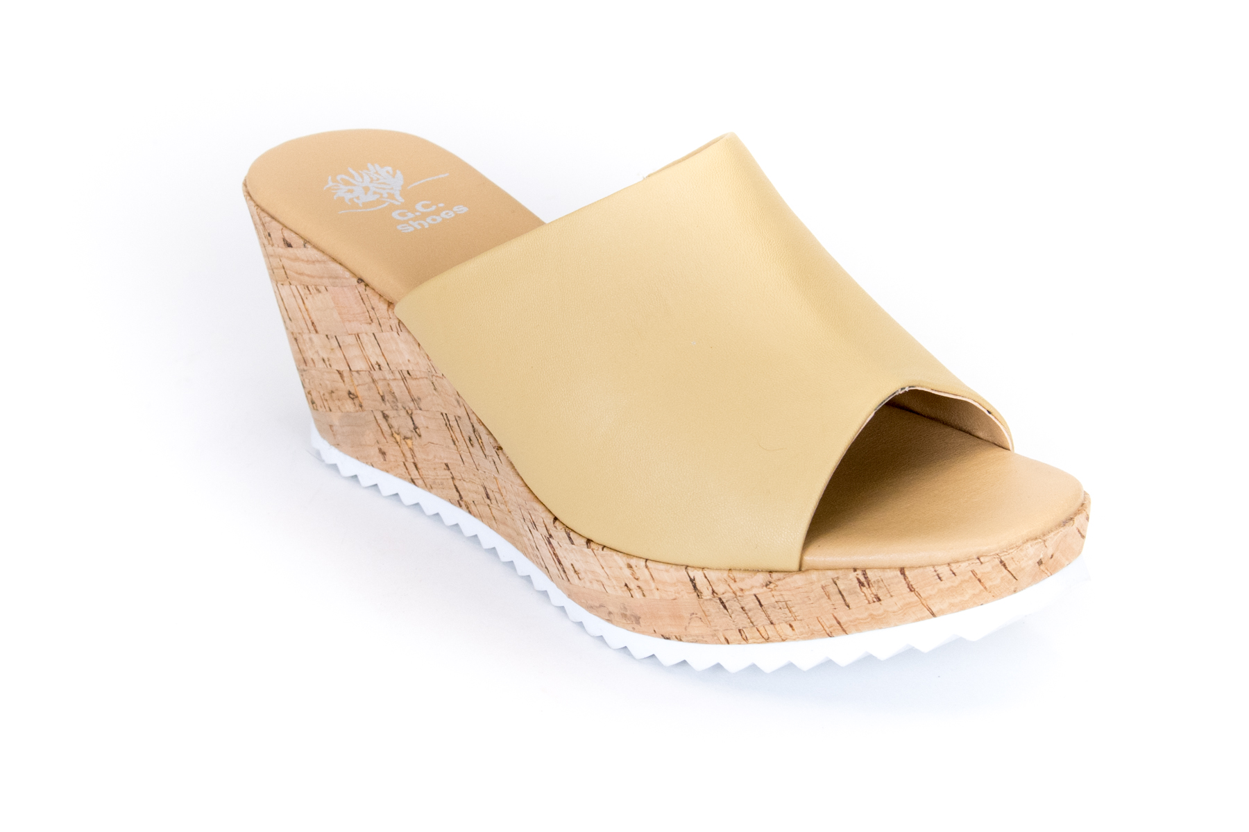 Peep Toe Slide Cork Wedge
